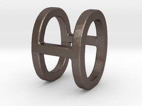 Two way letter pendant - HO OH in Polished Bronzed Silver Steel