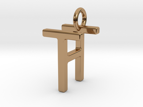 Two way letter pendant - HT TH in Polished Brass