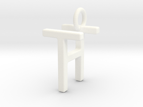 Two way letter pendant - HT TH in White Processed Versatile Plastic