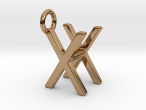 Two way letter pendant - HX XH in Polished Brass