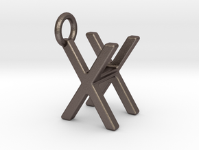 Two way letter pendant - HX XH in Polished Bronzed Silver Steel