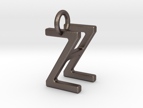Two way letter pendant - HZ ZH in Polished Bronzed Silver Steel
