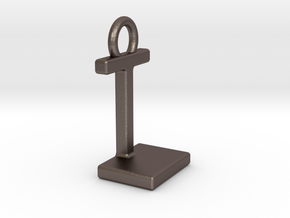 Two way letter pendant - IL LI in Polished Bronzed Silver Steel