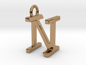 Two way letter pendant - IN NI in Polished Brass