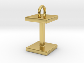 Two way letter pendant - II I in Polished Brass