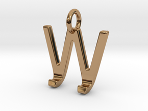 Two way letter pendant - JW WJ in Polished Brass