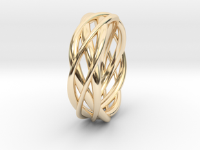 Mobius ring braid  in 14k Gold Plated Brass: 8 / 56.75