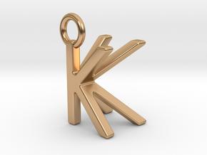 Two way letter pendant - KK K in Polished Bronze