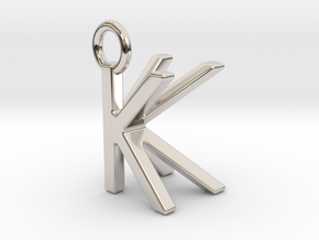 Two way letter pendant - KK K in Rhodium Plated Brass