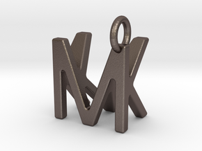 Two way letter pendant - KM MK in Polished Bronzed Silver Steel