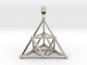 TETRAHEDRON (stage 2) PENDANT in Rhodium Plated Brass