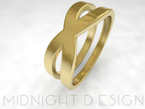"Ring ""Across"" Size 6 (16,5mm) in 14k Gold Plated Brass"