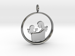 Mother & Daughter Pendant 3 -Motherhood Collection in Polished Silver