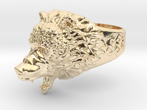 Roaring bear ring in 14k Gold Plated Brass: 6.5 / 52.75