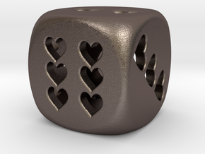 Dice hearts hollow in Polished Bronzed Silver Steel