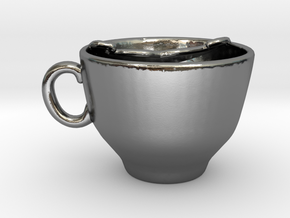 Moustache Cup in Polished Silver