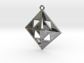 OCTAHEDRON Earring / Pendant Nº1 in Polished Silver