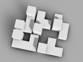 Miniature 5 Piece Interlocking Puzzle in White Natural Versatile Plastic