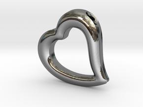 Heart Pendant Mark II (symmetrical) in Fine Detail Polished Silver