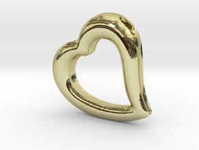 Heart Pendant Mark II (symmetrical) in 18k Gold Plated Brass