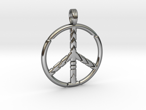 PEACE SYMBOL 2015 in Fine Detail Polished Silver