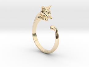 Cat Ring V1 - (Sizes 5 to 15 available) US Size 9 in 14K Yellow Gold