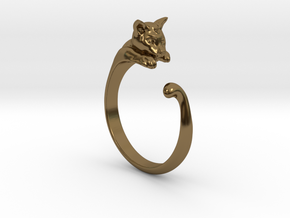 Cat Ring V1 - (Sizes 5 to 15 available) US Size 9 in Polished Bronze