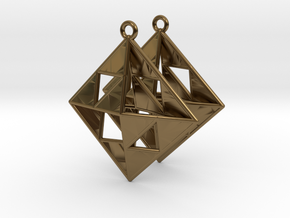 OCTAHEDRON Earrings Nº1 in Polished Bronze
