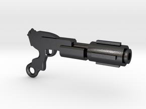 Laser Rifle Keyring in Polished and Bronzed Black Steel