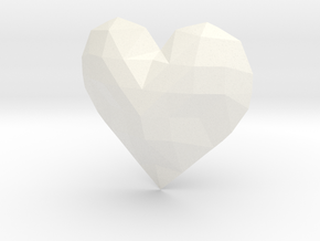 Low Poly Heart in White Strong & Flexible Polished