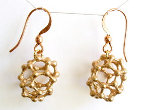 C30 Buckyball earrings in Raw Bronze