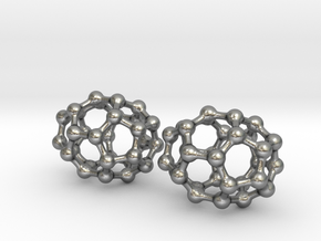 C30 Buckyball earrings in Natural Silver