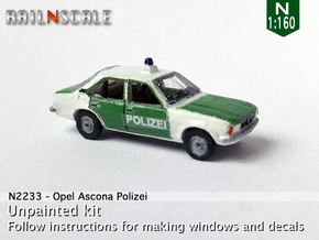 Opel Ascona Polizei (N 1:160) in Smooth Fine Detail Plastic