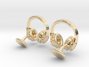 DJ Headphone Cufflinks in 14K Yellow Gold
