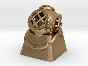 Diver Helmet (For Cherry MX Keycap) in Polished Gold Steel