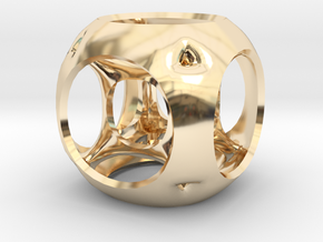 Hypercube-tesseract- pendant in 14K Yellow Gold
