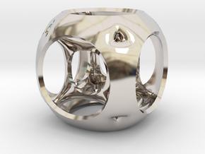 Hypercube-tesseract- pendant in Rhodium Plated Brass