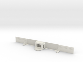 Closed Double Sliding Steel Gate w/Guard Shack in White Natural Versatile Plastic