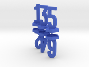Six Generic 1 Inch Base Minis - 1, 2, 3, 4, 5, 6 in Blue Processed Versatile Plastic