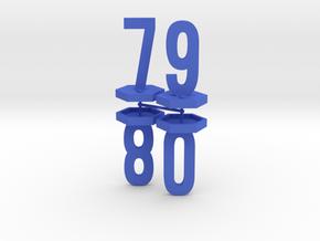 Four Generic 1 Inch Base Minis - 7, 8, 9, 0 in Blue Processed Versatile Plastic