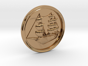 Ship Basrelief in Polished Brass