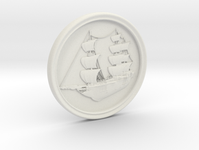 Ship Basrelief in White Natural Versatile Plastic