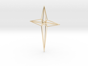 Star 7x5x1 D1 in 14k Gold Plated Brass