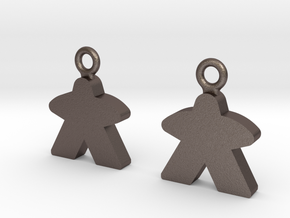 Meeple Earrings in Polished Bronzed Silver Steel