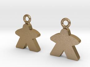Meeple Earrings in Polished Gold Steel
