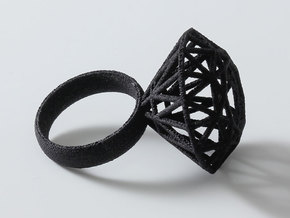 Rock Star Diamond Ring Size 6 in Black Strong & Flexible