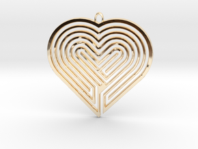 Heart Maze-Shaped Pendant 5 in 14K Yellow Gold