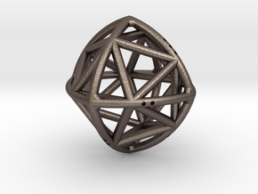 Convex Octahedron with included Icosahedron in Polished Bronzed Silver Steel