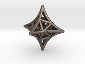 Concave Octahedron with included Icosahedron in Polished Bronzed Silver Steel