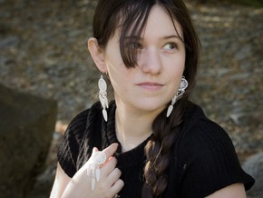 Feather Dream Catcher Earring *Pair in White Strong & Flexible Polished